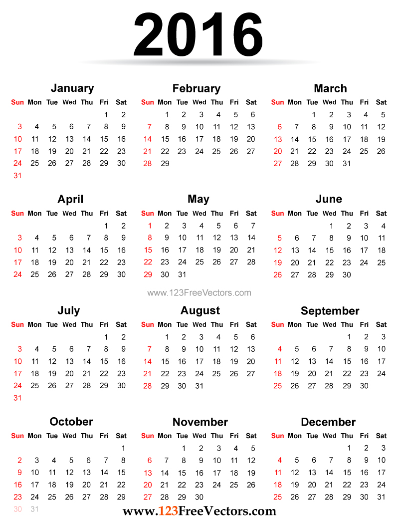 2016 calendar printable free by 123freevectors on deviantart