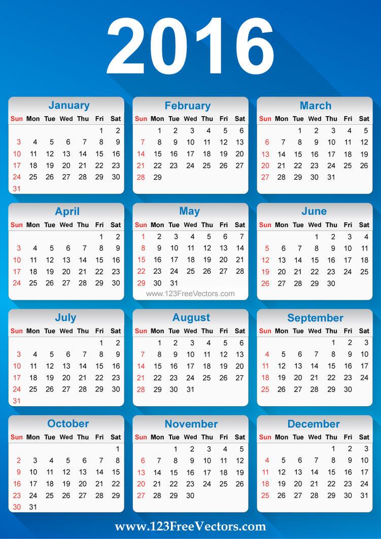 Free Vector 2016 Calendar by 123freevectors on DeviantArt