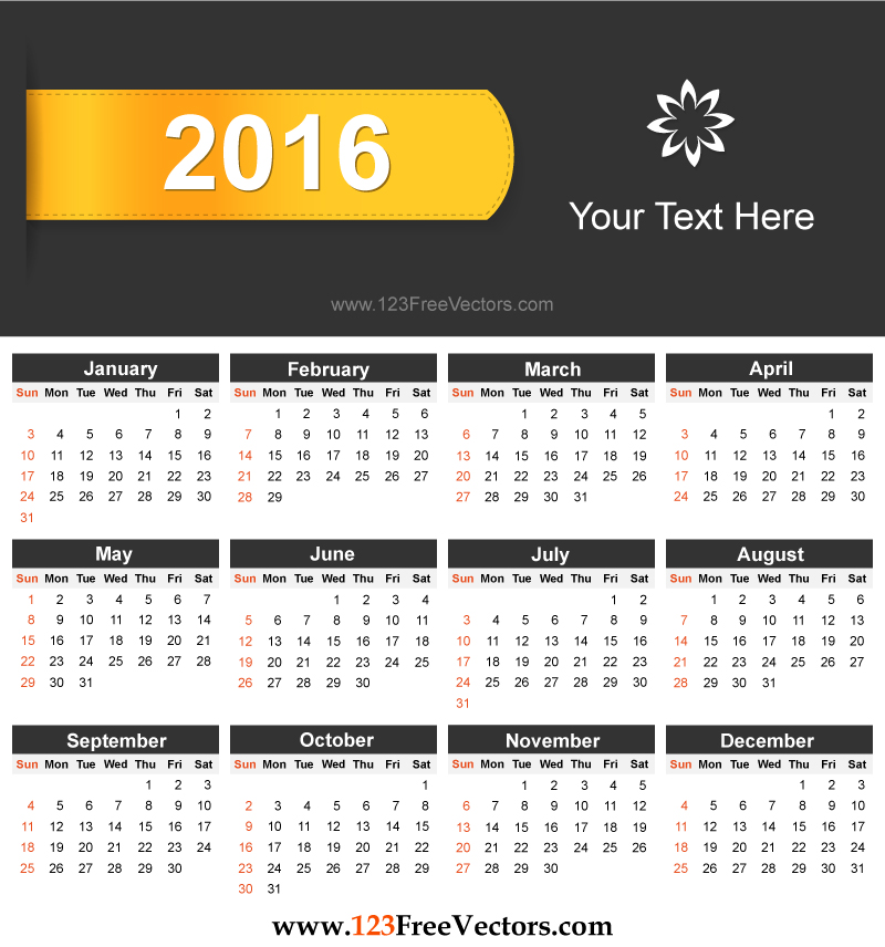 Free Download 2016 Calendar by 123freevectors