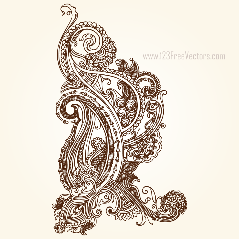 Henna Paisley Designs by 123freevectors