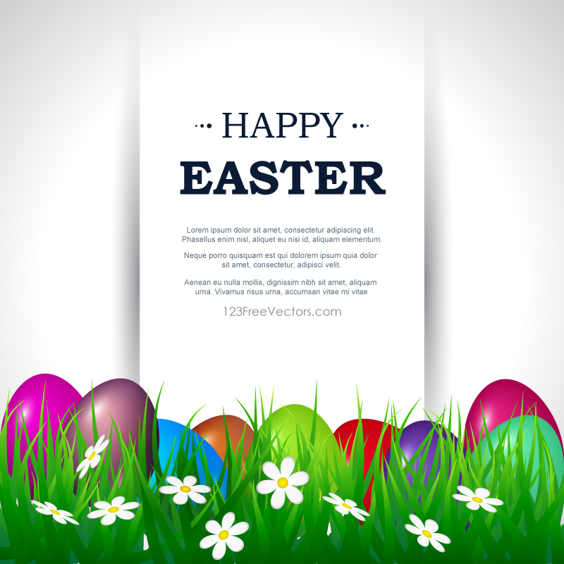easter picture templates - happy easter card template free by 123freevectors on
