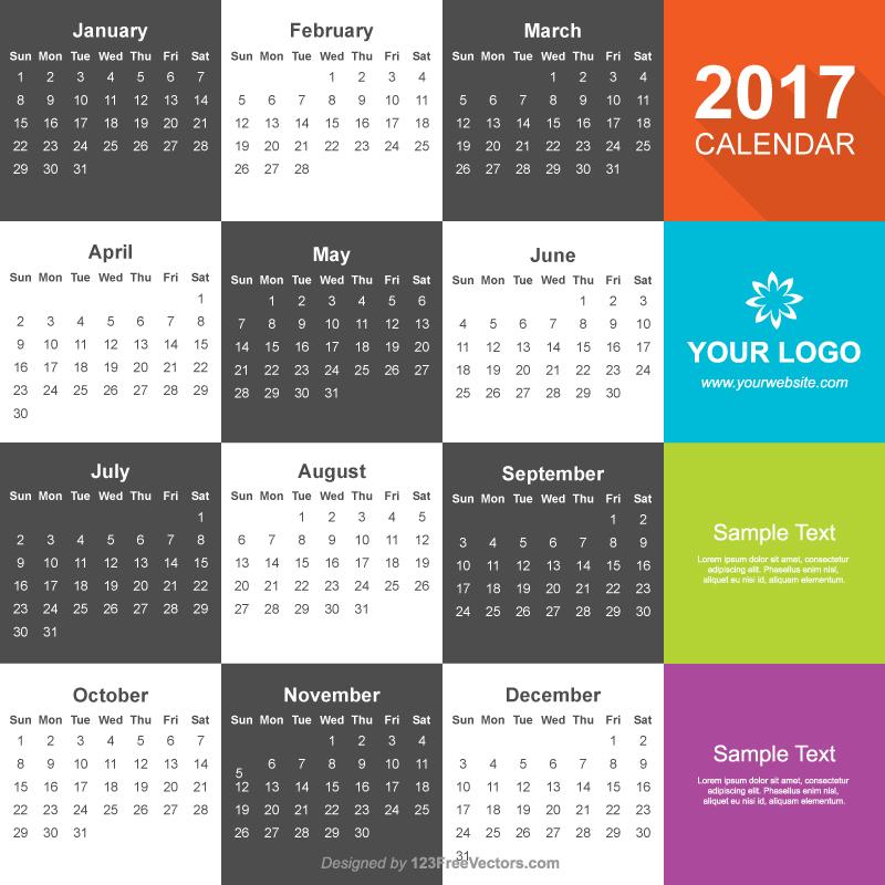 calendar 2017 vector free download by 123freevectors on deviantart