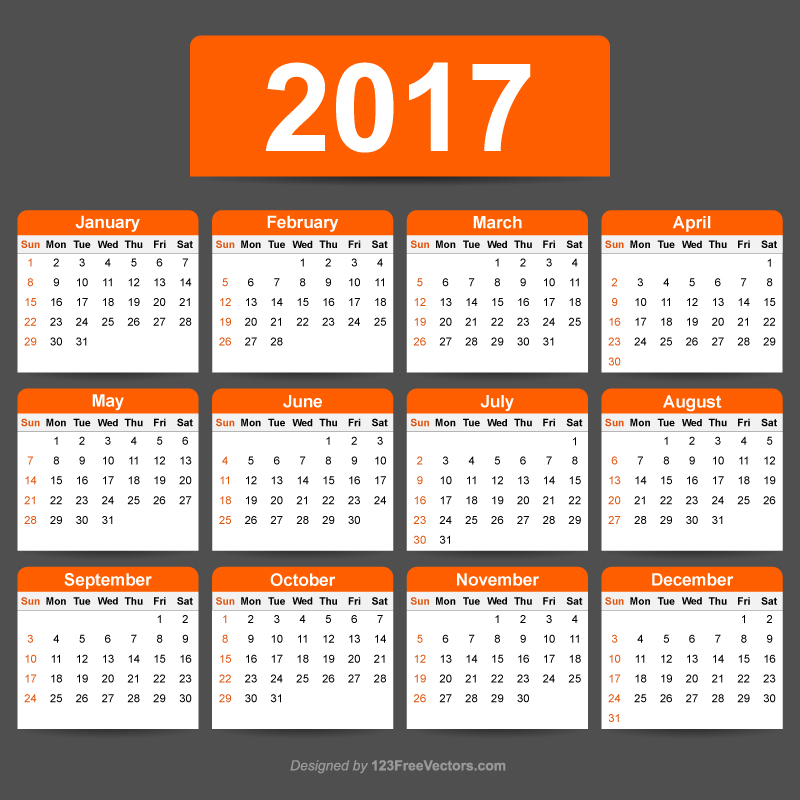 2017 Calendar Template Illustrator By 123Freevectors On Deviantart