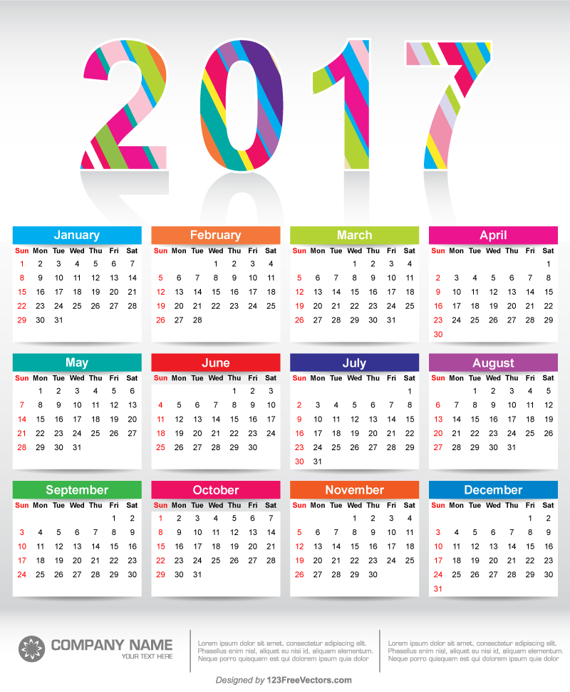 Colorful 2017 Calendar Printable Template By 123freevectors On