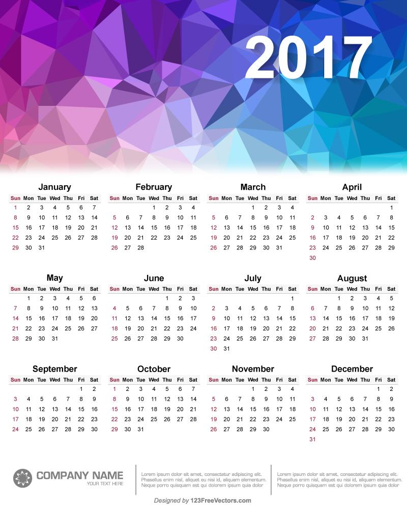 Typography Calendar Free : Polygonal calendar design vector by freevectors on
