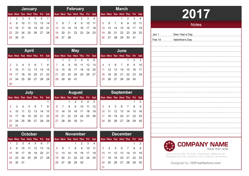 2017 Calendar Template with Notes by 123freevectors on DeviantArt