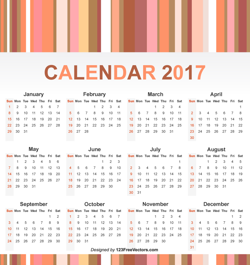 Free 2017 Year Calendar by 123freevectors on DeviantArt