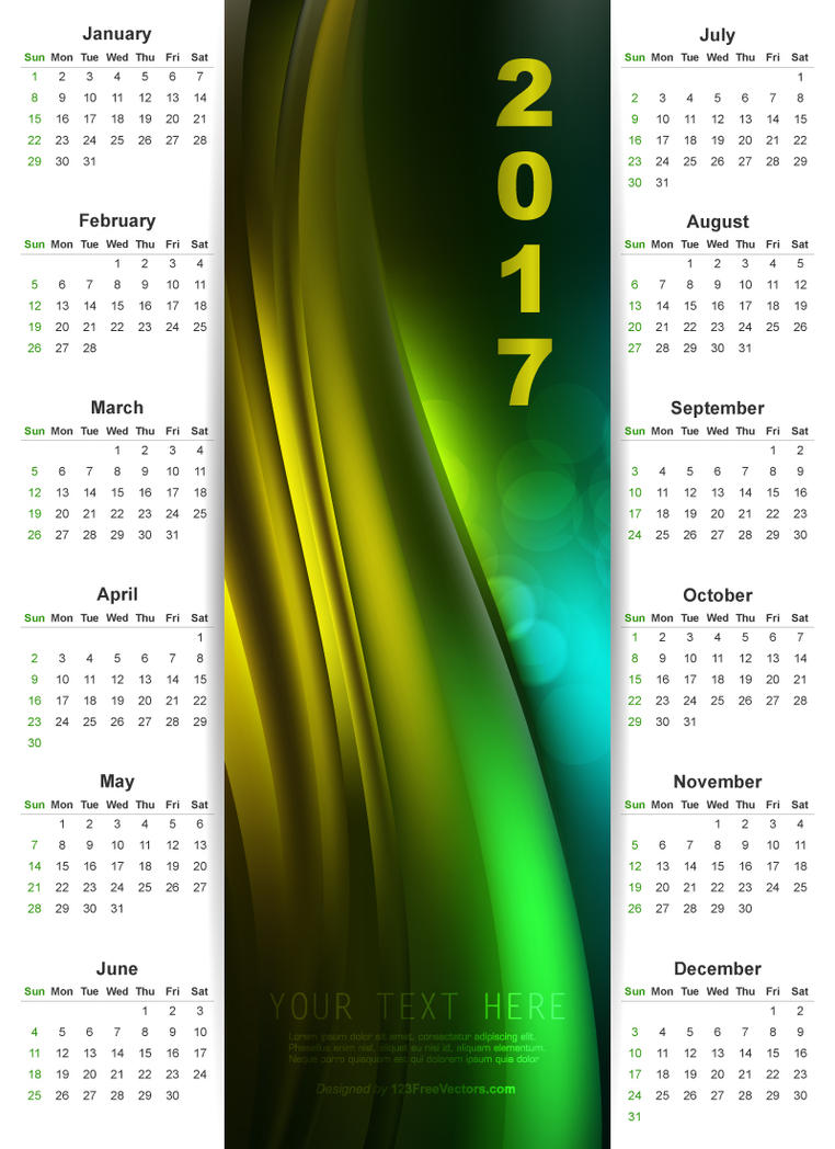 Printable Calendar Graphic Design : Wall calendar graphic design by freevectors on