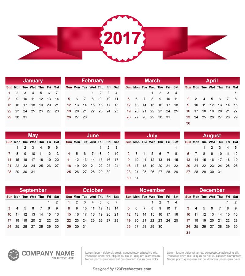 Printable 2017 Calendar Vector by 123freevectors on DeviantArt