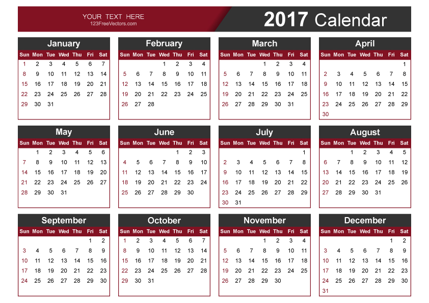 Editable 2017 Vector Calendar by 123freevectors on DeviantArt