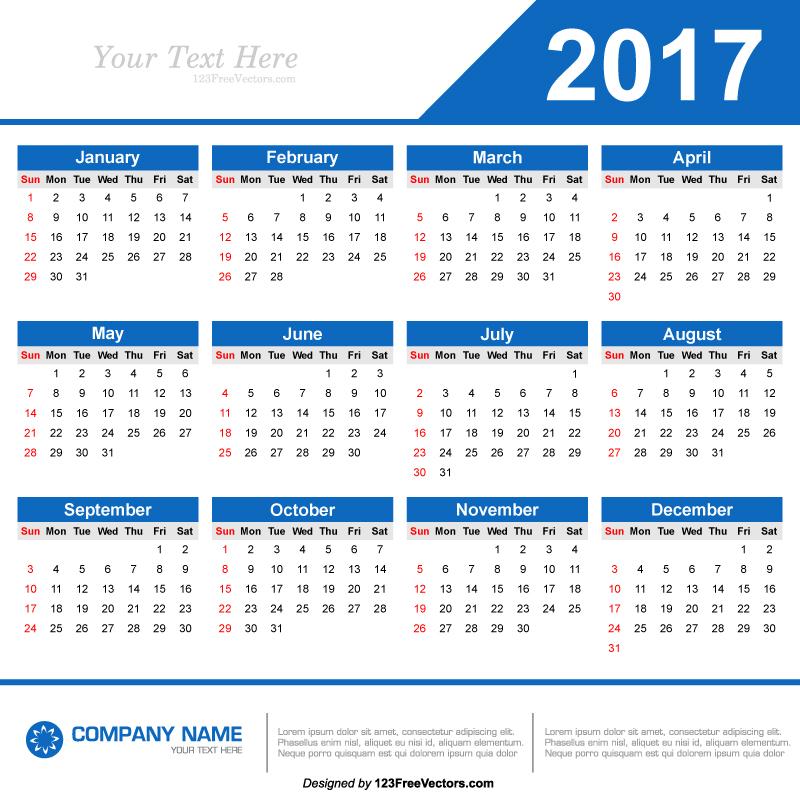 2017 Calendar Template Vector By 123freevectors On Deviantart