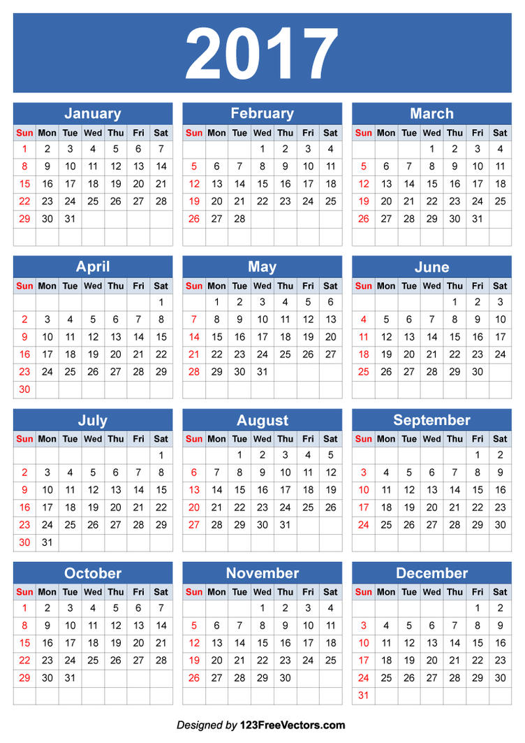 free editable 2017 calendar