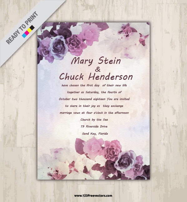 Watercolor flower wedding invitation free vector by 123freevectors stopboris Image collections