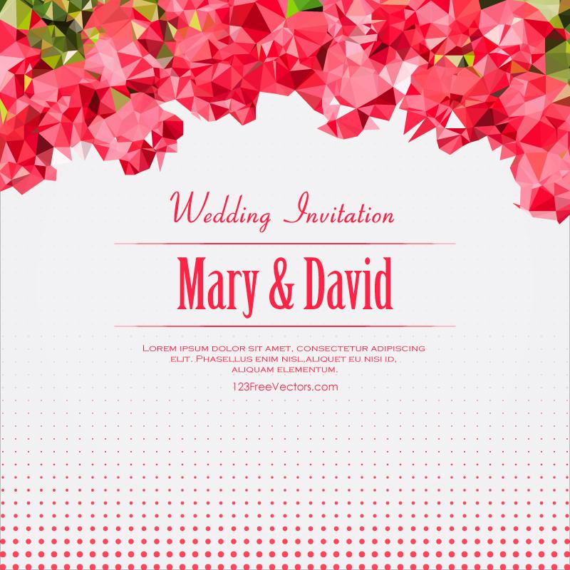 Pink polygonal wedding invitation card free vector by 123freevectors stopboris Images