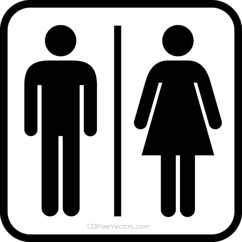 male female restroom symbols free vector by 123freevectors on deviantart rh deviantart com restroom signs clip art restroom pass clipart