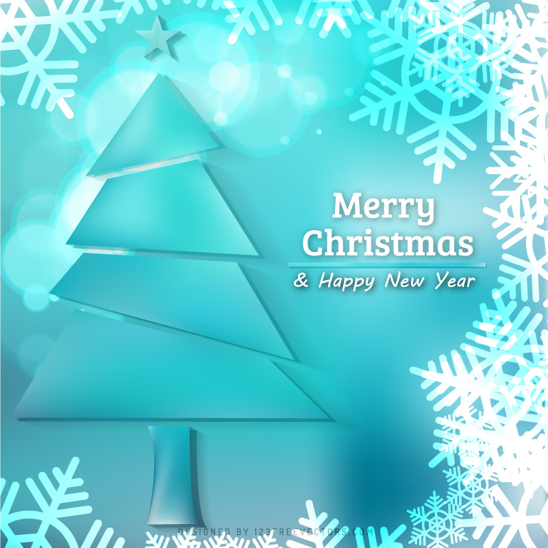 Turquoise And White Christmas Tree: Turquoise Christmas Tree With Snowflake Background By