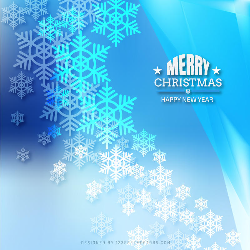 Merry Christmas Snowflakes Light Blue Background