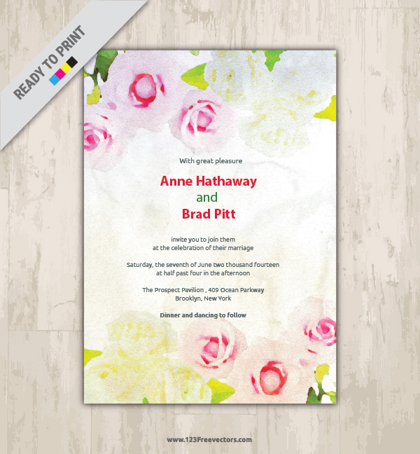Floral Watercolor Invitation Card Free Vector