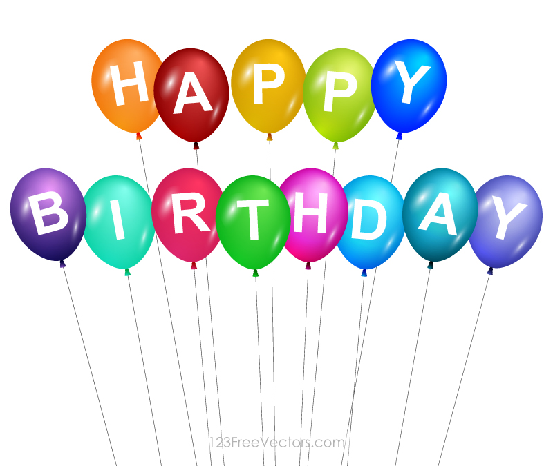Happy Birthday Balloons Free Vector By 123freevectors