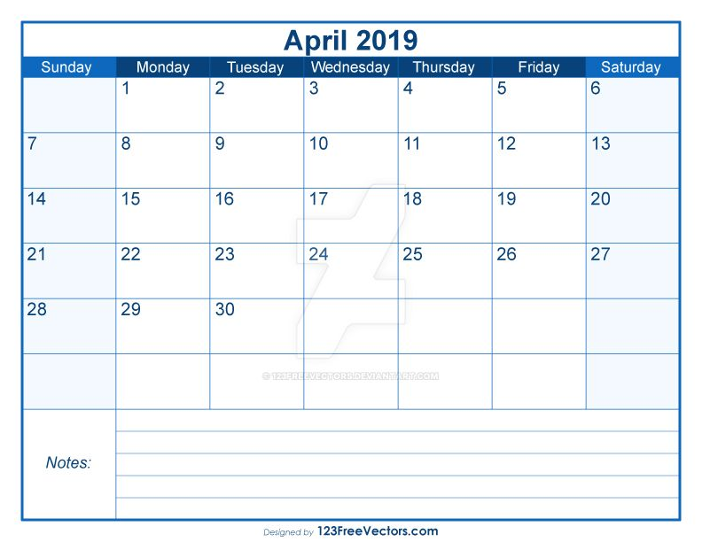 blank printable april calendar 2019 free vector by