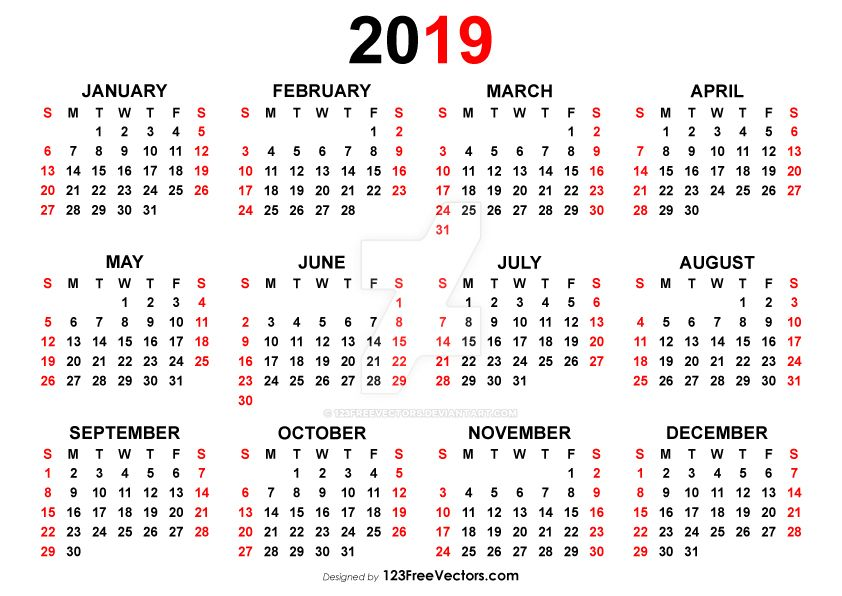 Yearly Calendar 2019 Free Vector by 123freevectors
