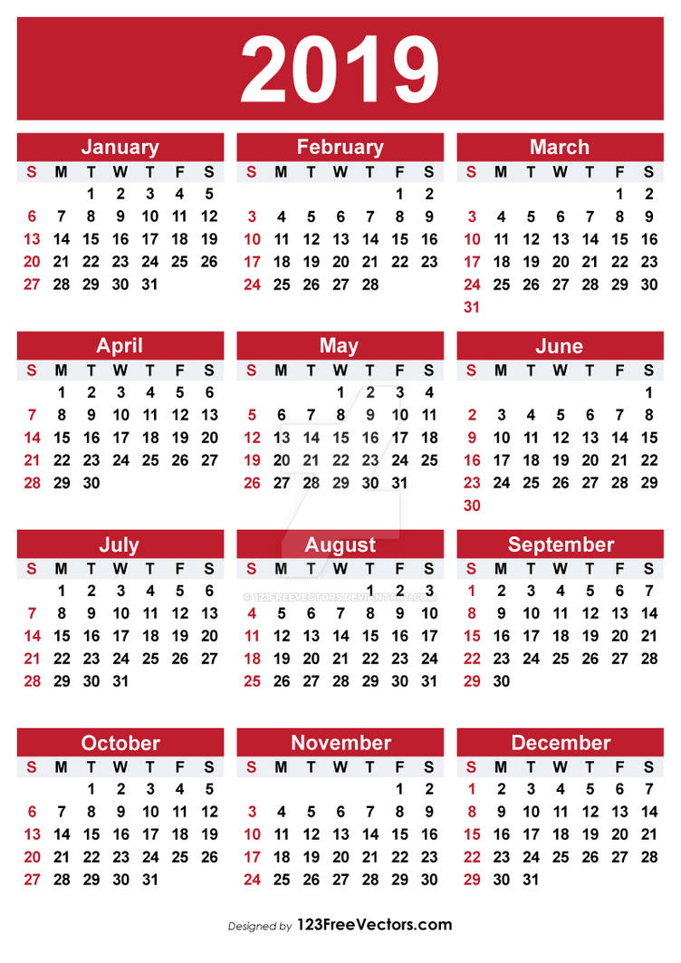 2019 printable calendar free vectors by 123freevectors on