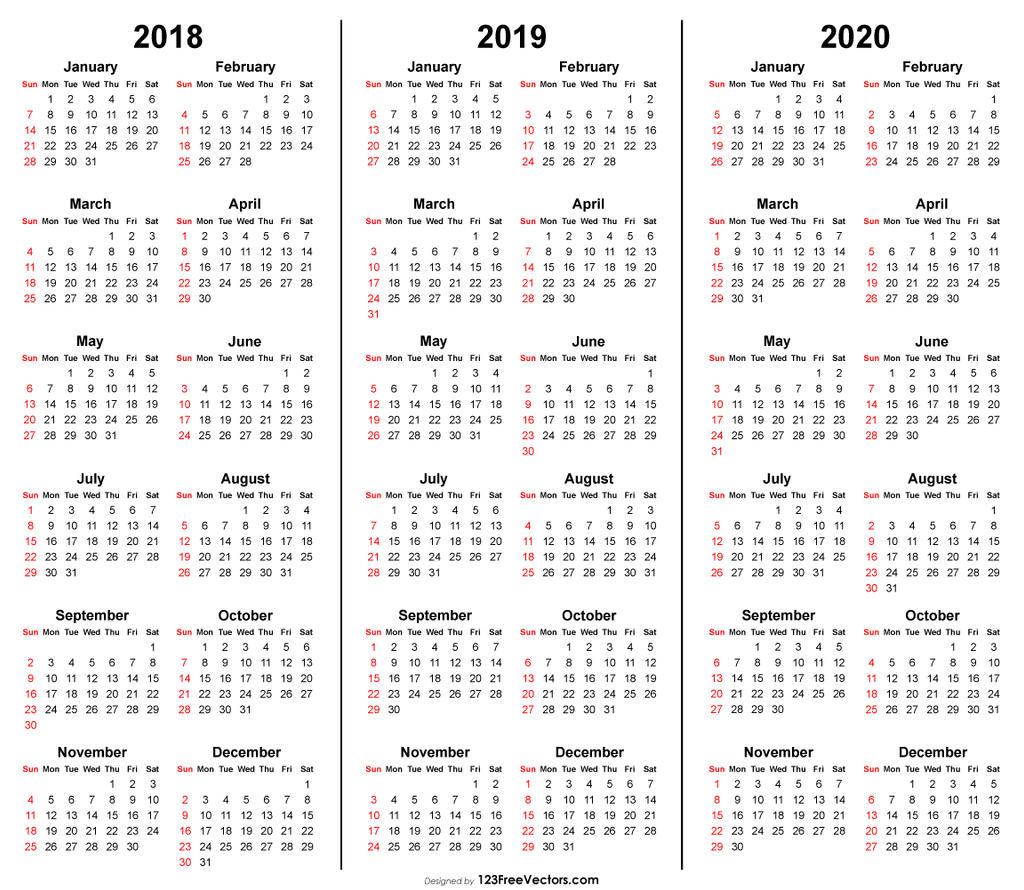 3 Year Calendar 2018 2019 2020 Printable Free Pdf By