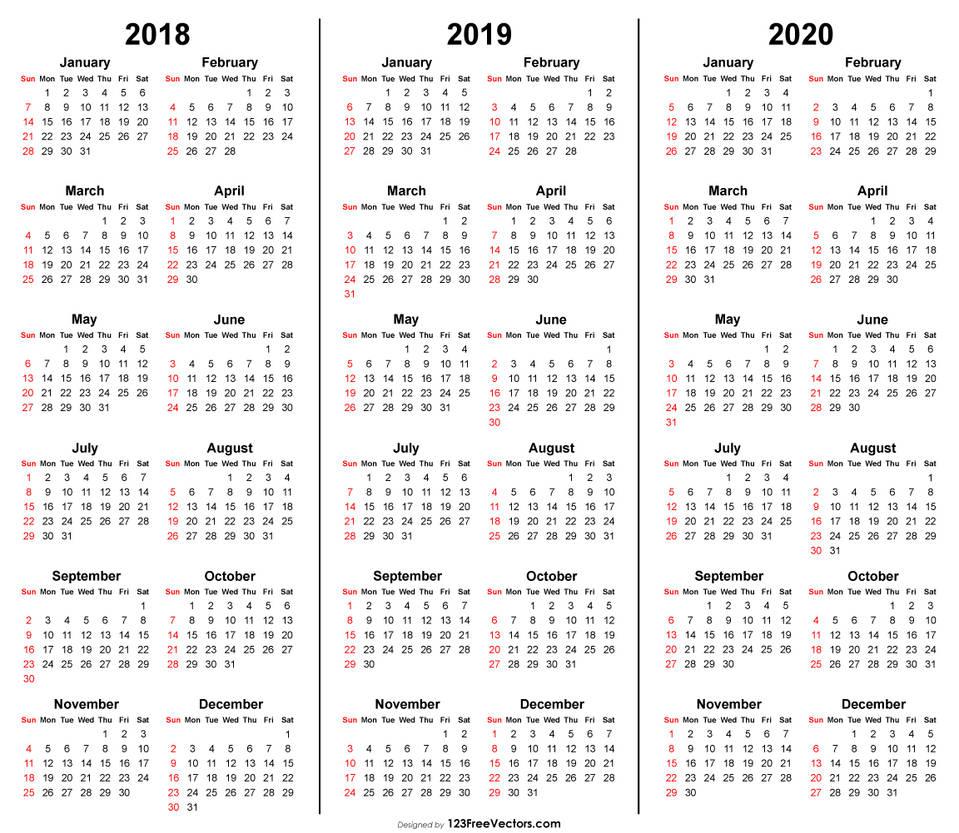 3 Year Calendar 2018 2019 2020 Printable Free Pdf By 123freevectors