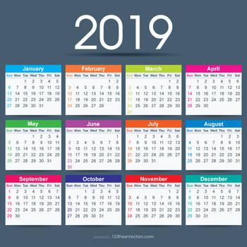 2019 Calendar Ai Free Vector by 123freevectors