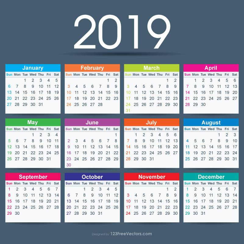 2019 Calendar Ai Free Vector