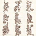 Hand Drawn Paisley Flower Designs Vector Pack Free