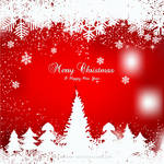 Winter Red Background with snowflake and Christmas