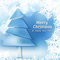 Light Blue Christmas Tree and Snowflake Background