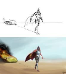 Hunter sketch vs finished work