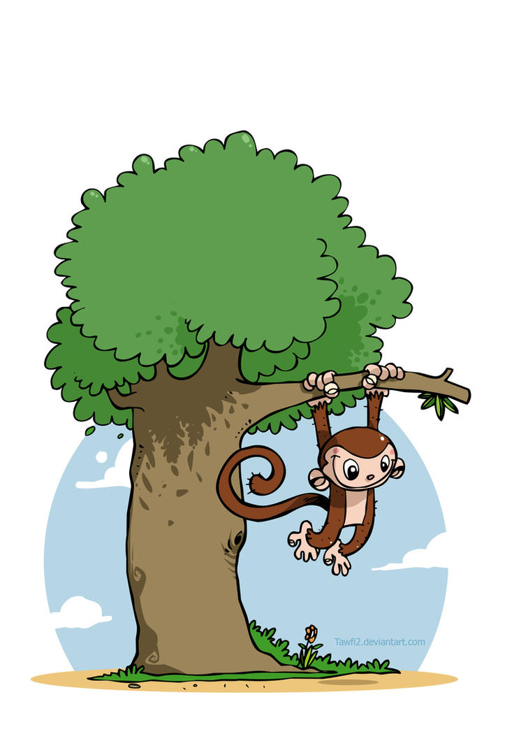 how to draw monkeys in a tree