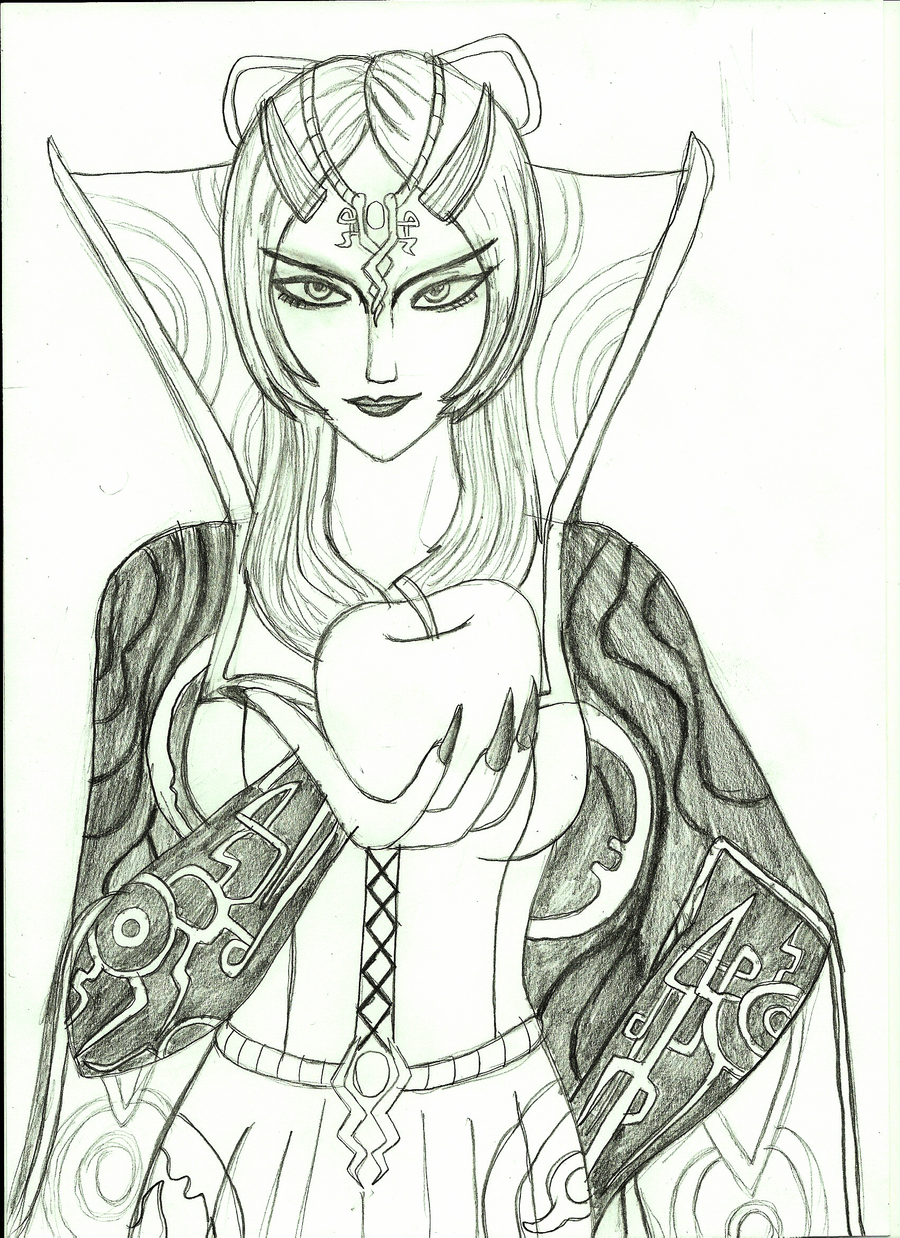 Evil stepmother midna poster lineart by anapauladbz on for Evil stepmother coloring pages