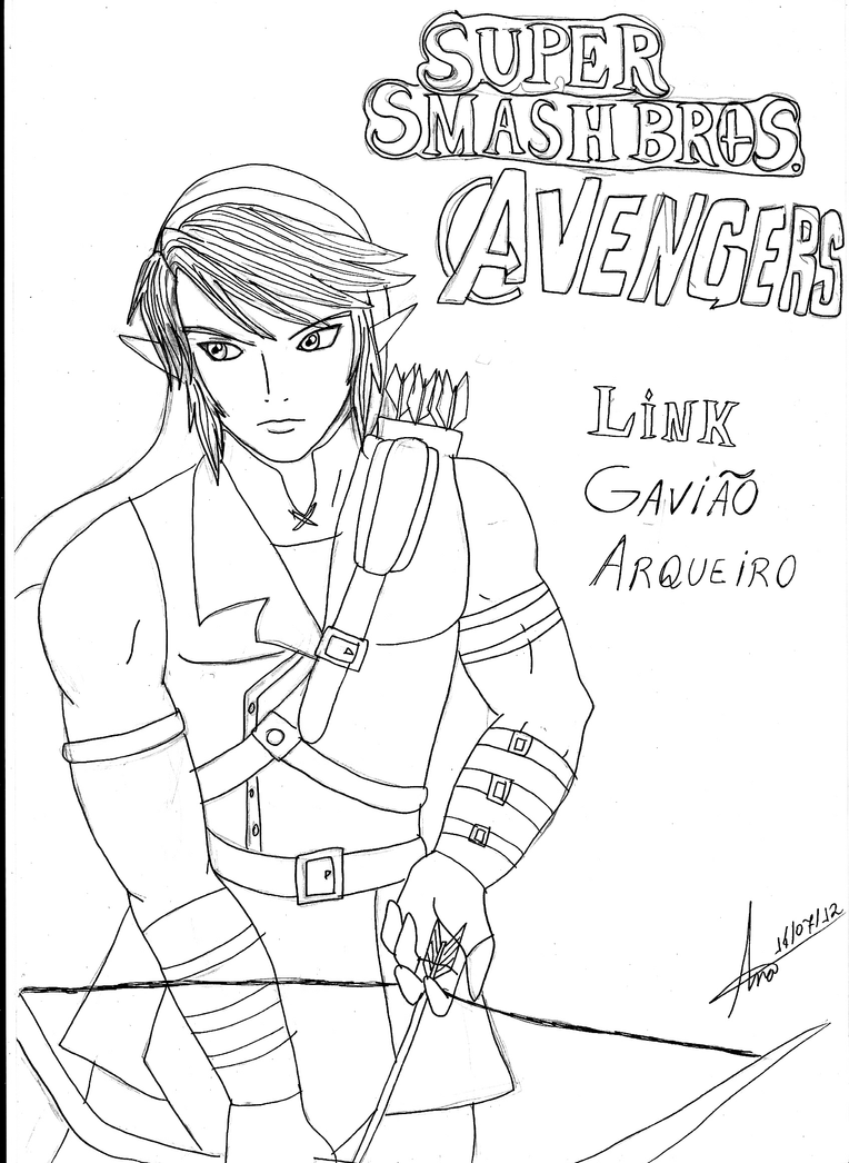 super smash bros avengers link hawkeye by anapauladbz on deviantart