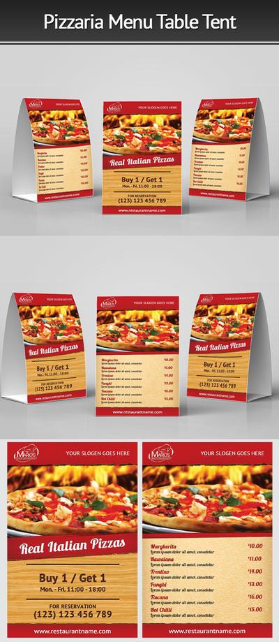 Pizzeria Menu Table Tent by Mograsol