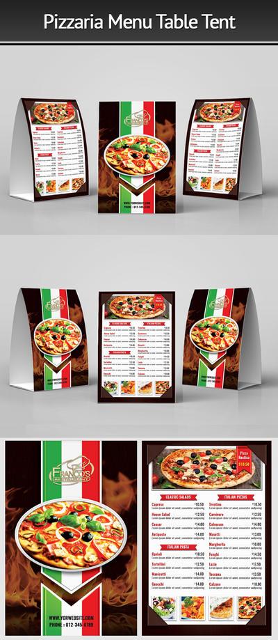 Pizzeria Menu Table Tent 2 by Mograsol
