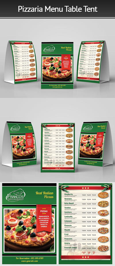 Pizzeria Menu Table Tent 3 by Mograsol