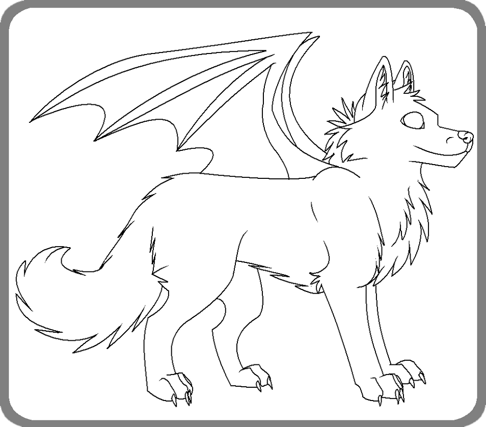 wolves with wings coloring pages - photo#23