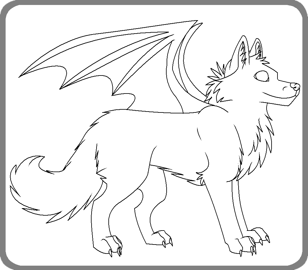 Winged wolf free coloring by Kyuubi83256 on deviantART