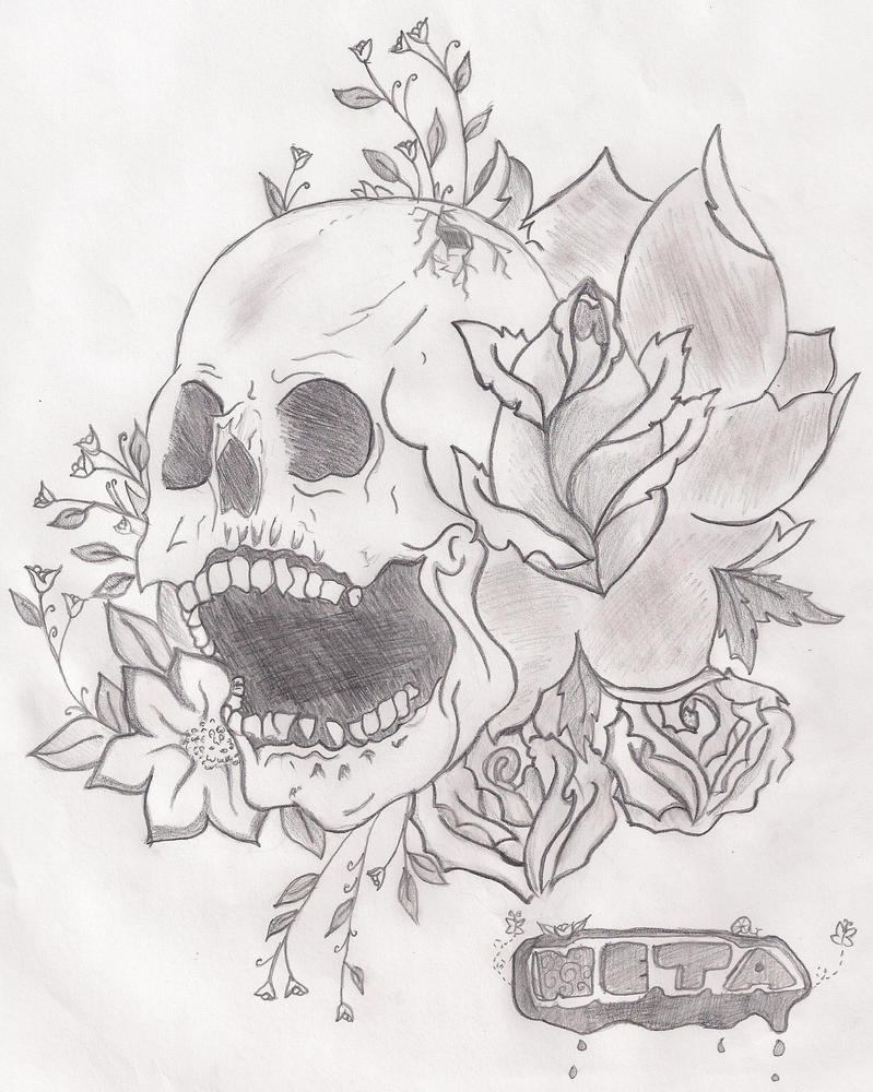 how to draw a skull with flowers