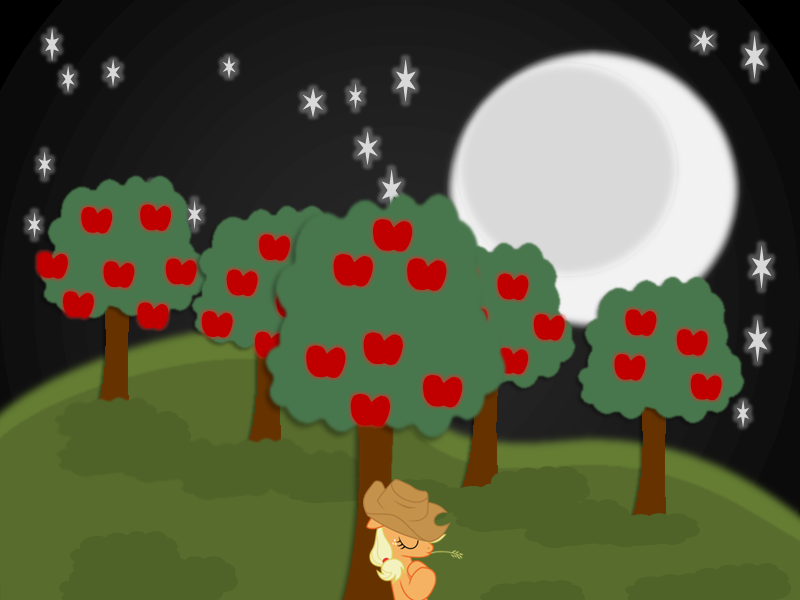 PowerPoint Art: Nighttime in Apple Acres by ShadowNote on DeviantArt