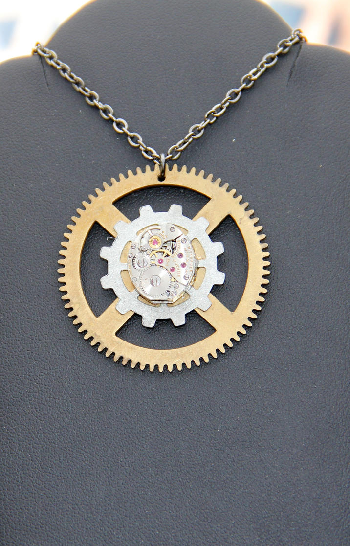 design bronze products compass necklace pendant antique pocket rose gear watch