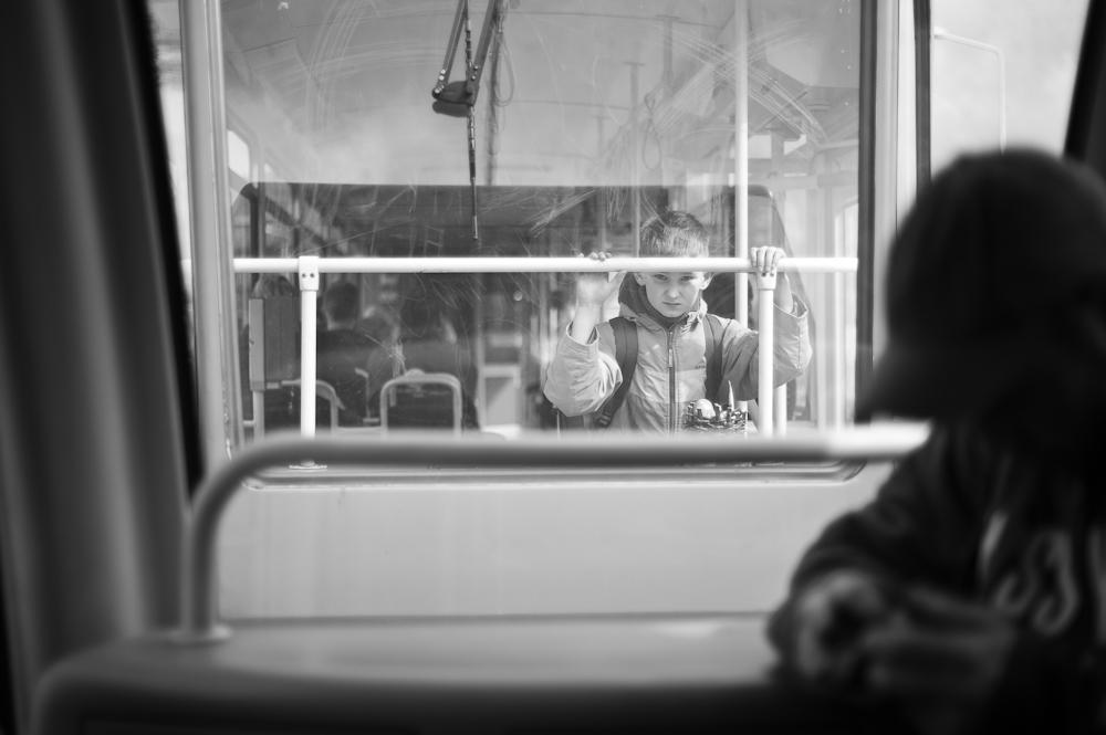 Boy on tram by ChristophTrabert