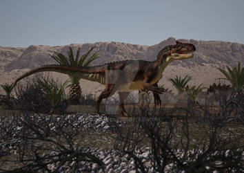allosaurus shadowing the herd