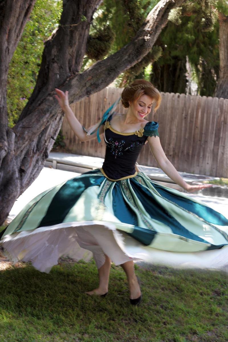Frozen Anna Green Dress Costume Cosplay