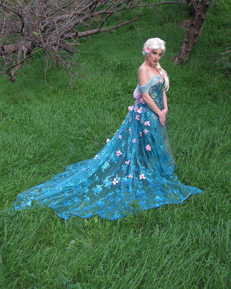 Queen Elsa Frozen Fever Cosplay (Spring Dress) by glimmerwood