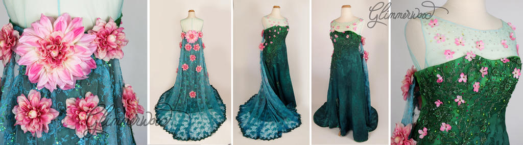 Queen Elsa Frozen Fever Cosplay Gown(Spring Dress) by glimmerwood